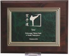 HG224 - Diplom drevený so zlato-zeleným plechom a gravírovaním 25,5x20 cm